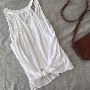 NWOT Anthropologie White Tank with Knotted Back